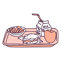 Desayuno comida bandeja color doodle