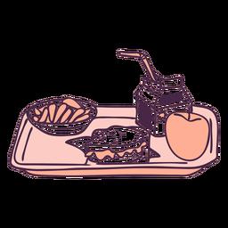 Doodle de cor de bandeja de comida de café da manhã