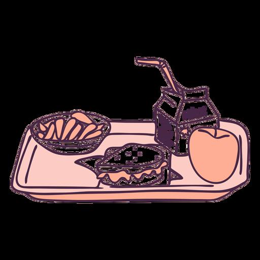 Doodle de color de bandeja de comida de desayuno