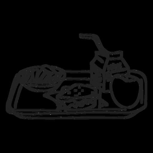 Doodle de bandeja de comida de desayuno