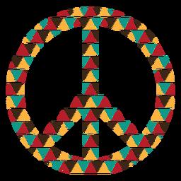 Símbolo de paz de formas de triángulo colorido