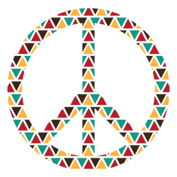 Triângulo colorido molda o símbolo da paz