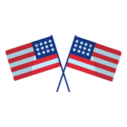 Crossed usa flags element