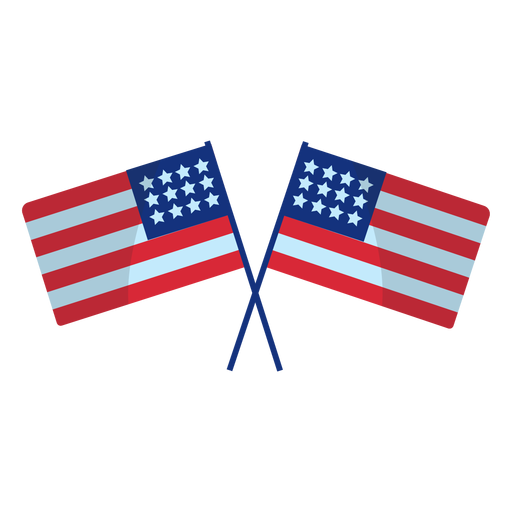 Crossed usa flags element Transparent PNG