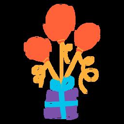 Caixa de presente com balões