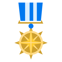 Golden compass star medal icon