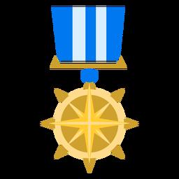 Icono de medalla de estrella de brújula dorada