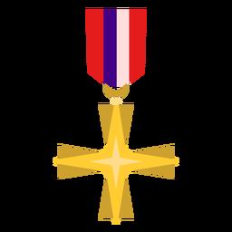 Golden cross medal icon