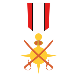 Icono de medalla de espadas cruzadas de oro