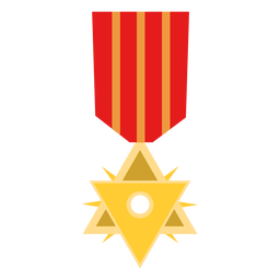 Golden double triangle medal icon