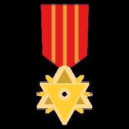 Icono de medalla de doble triángulo dorado