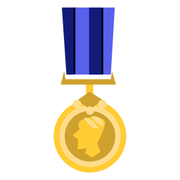Golden round medal icon