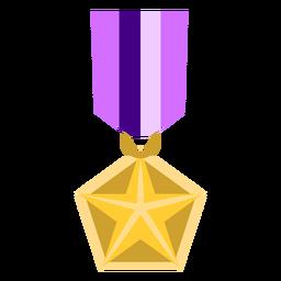 Icono de medalla pentágono estrella dorada