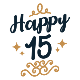 Happy 15 lettering