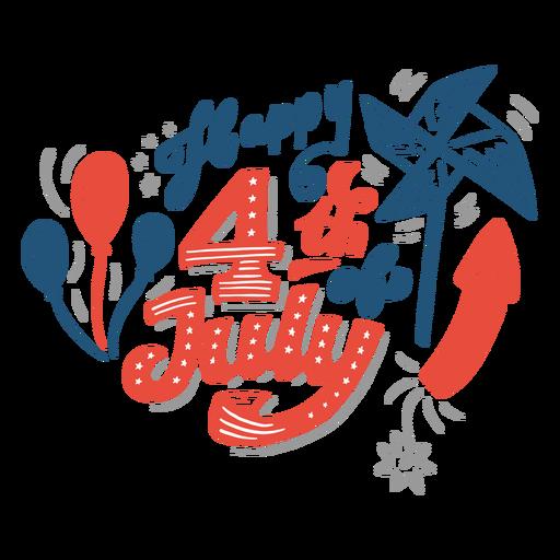 Glücklicher 4. Juli Schriftzug