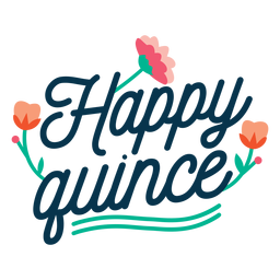 Happy quince floral lettering