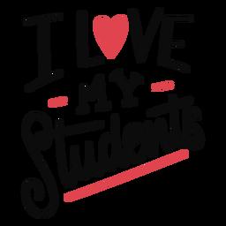 Amo a mis estudiantes diseño de letras