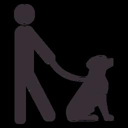Figura de hombre con perro guía