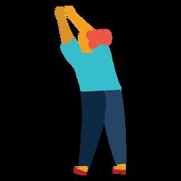Man holding object overhead