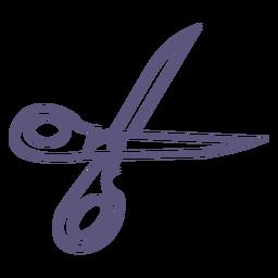 Icono de trazo de tijeras abiertas