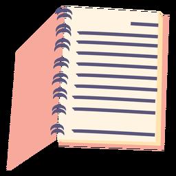 Ícone plana de caderno espiral aberta