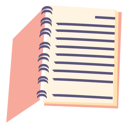 Open spiral notebook flat icon