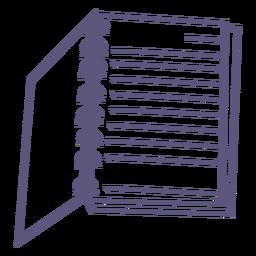 Ícone de traçado de caderno espiral aberto