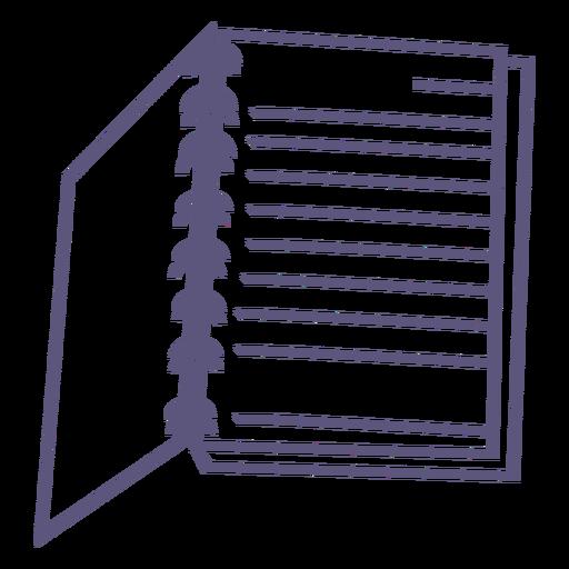 Icono de trazo de cuaderno de espiral abierto