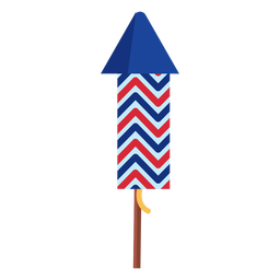Elemento de foguete de fogo de artifício em zigue-zague patriótico