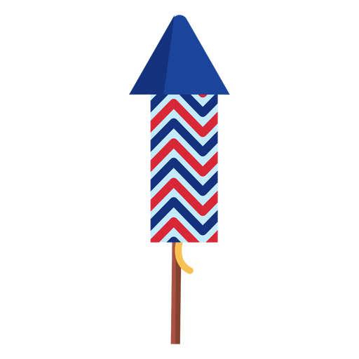 Elemento de cohete de fuegos artificiales patriótico en zigzag