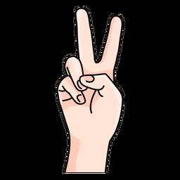 Dibujos animados de signo de mano de paz