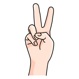 Peace hand sign cartoon