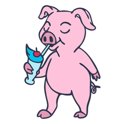 Dibujos animados de batido de bebida de cerdo