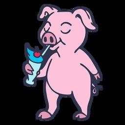 Pig drinking shake cartoon