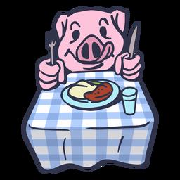 Schwein, das am Tischkarikatur isst
