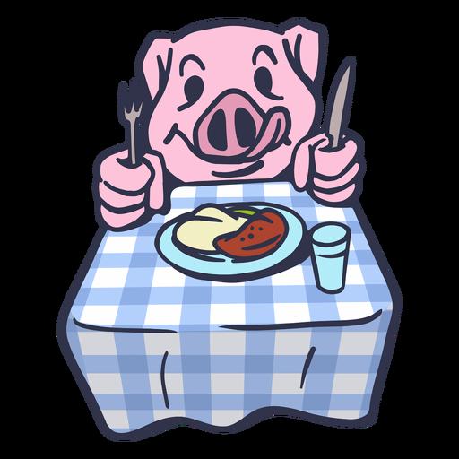 Cerdo comiendo en la mesa de dibujos animados