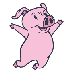 Pig jumping cartoon