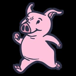 Pig running cartoon