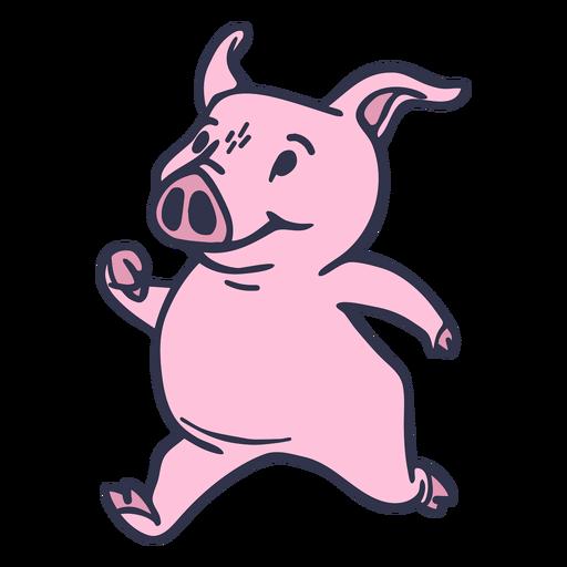 Dibujos animados de cerdo corriendo
