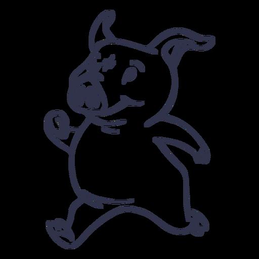 Dibujos animados de trazo de ejecución de cerdo