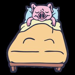 Cerdo durmiendo en la cama cartoon