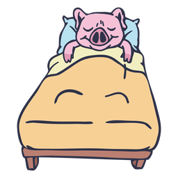 Pig sleeping in bed cartoon