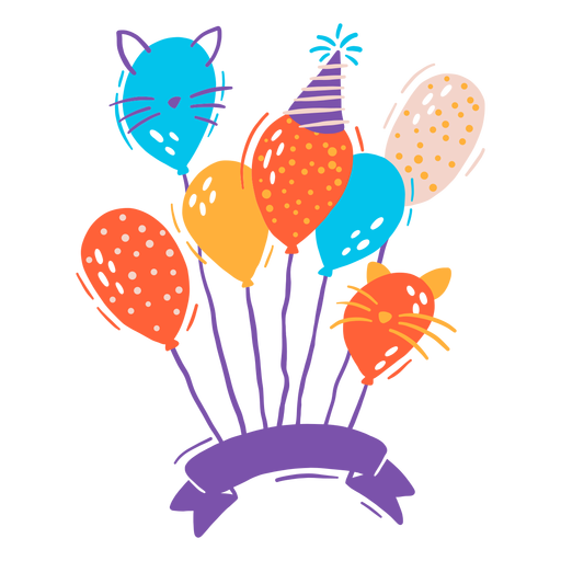 Ribbon with balloons Transparent PNG