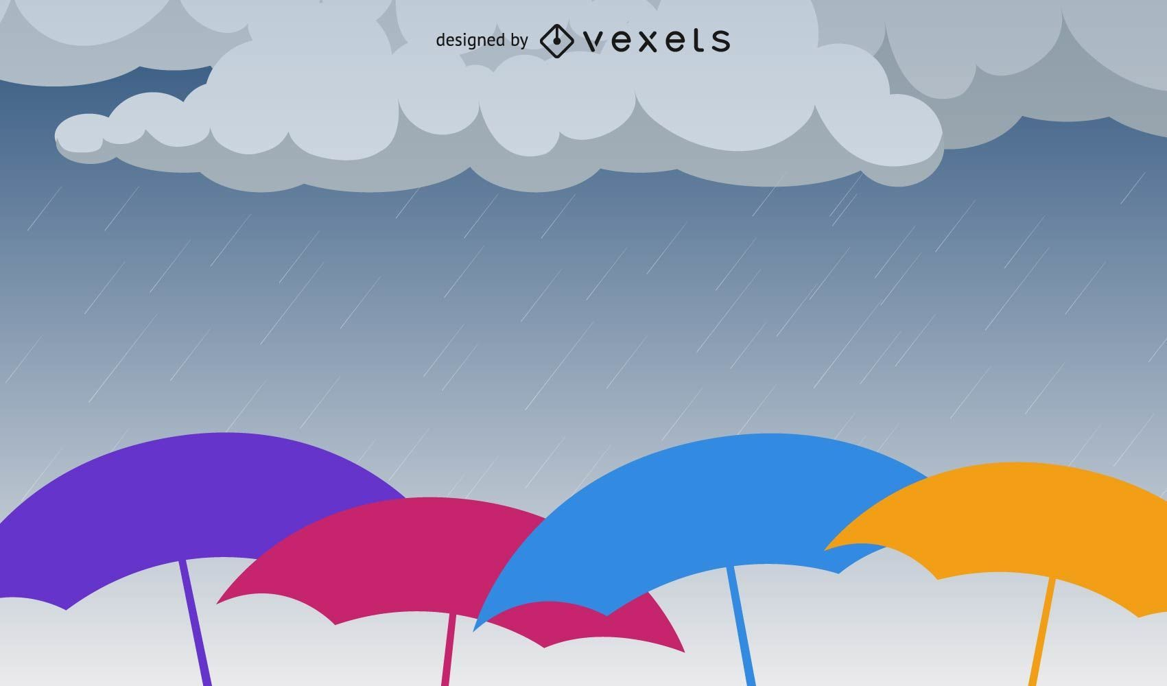 Raining Umbrella Vector