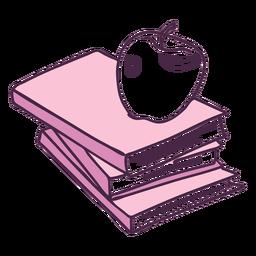 Libros escolares y doodle de color manzana