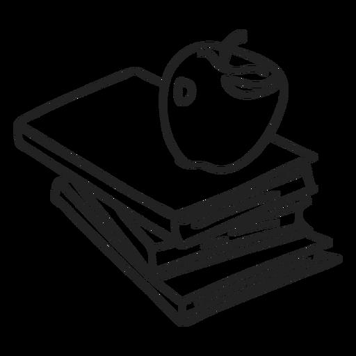 Libros escolares y doodle de manzana