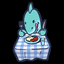 Tubarão comendo no desenho de mesa