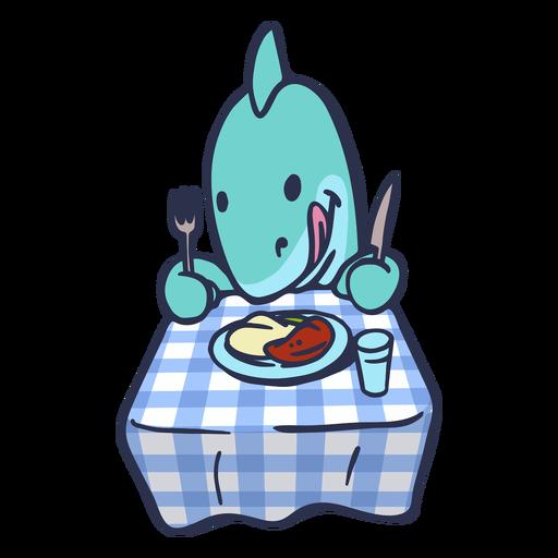 Tiburón comiendo en dibujos animados de mesa