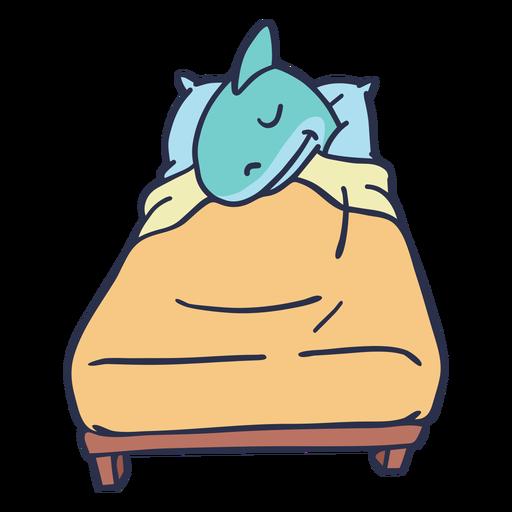 Tiburón durmiendo en la cama de dibujos animados