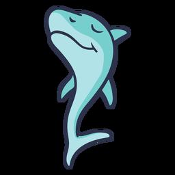 Shark walking confidently cartoon